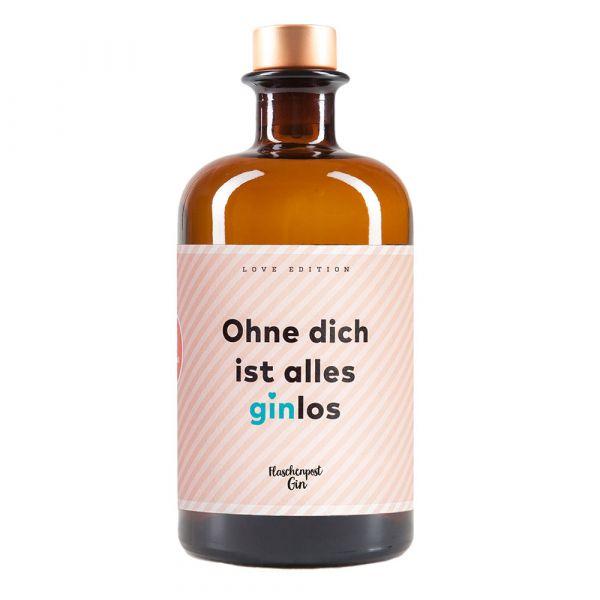 "Flaschenpost Gin Limited Edition ""Ohne dich ist alles ginlos"""